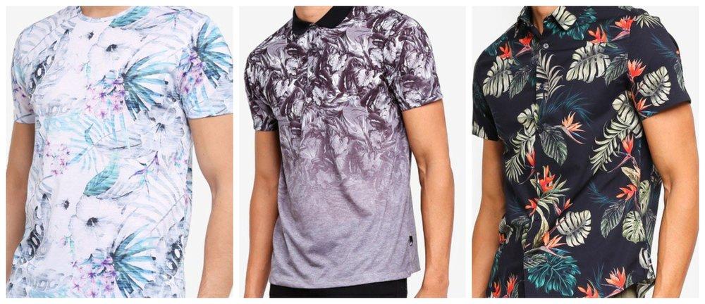 Pink And Aqua Floral All-Over Print T-Shirt | Charcoal Monochrome Floral Fade Polo Shirt | Black Short Sleeve Maui Print Shirt