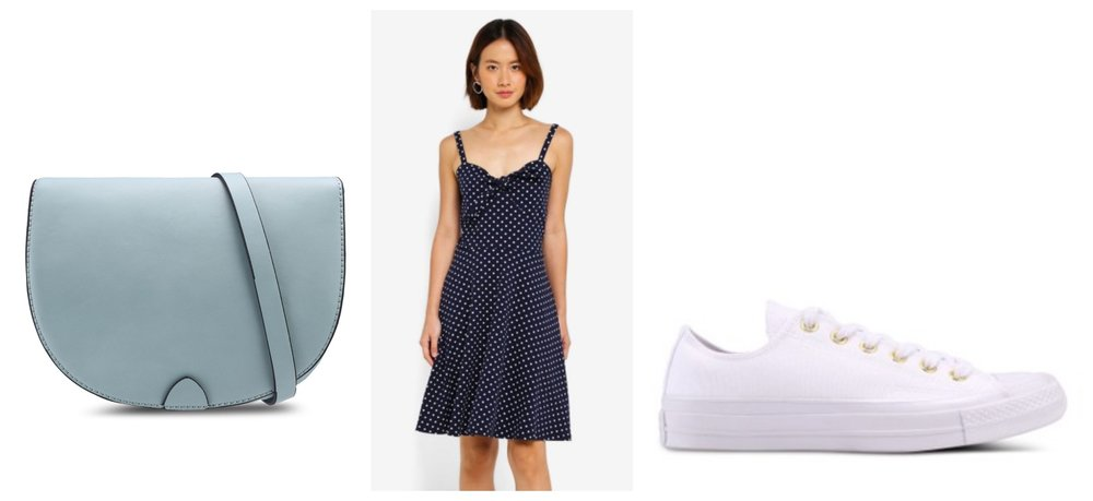 ESPRIT Crossbody Bag  |  Dorothy Perkins Polka Dotted Sundress  |  Converse All Star Sneakers