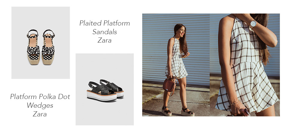 Source: Zara & Nydia Enid on Lookbook.nu   Other than sandals, wedges are the usual go-to summer shoes. You can take it up a notch with some platform wedges. These shoes will not only make you taller, they also provide ample cushioning for those with over/under pronation problems.  You do need a little bit of skill when wearing these summer shoes; the platform heel can make these wedges quite high so be extra careful when prancing about town. Choose platform wedges with straps so you can have more security when strutting in these shoes.  Consider these plaited platform sandals or the platform polka dot wedges, both from Zara, as your go-to summer platform wedges.      Espadrilles