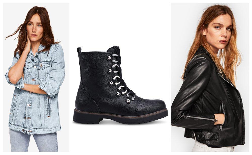 Mango Oversize Denim Jacket | Keddo Nancy Boots  | Mango Zipper Leather BikerJacket