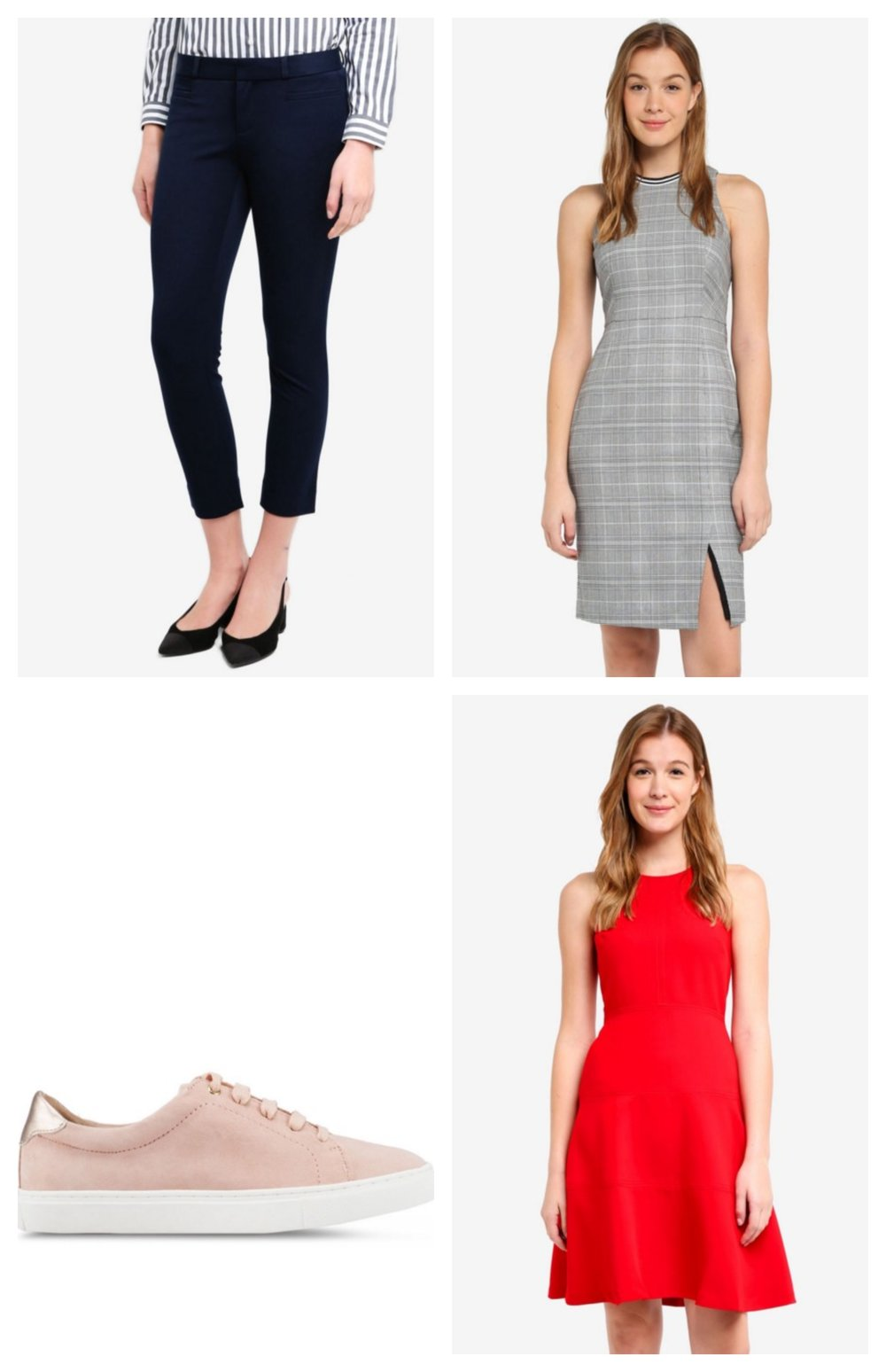 Clockwise from top left:  Sloan Solids Trousers  |  Stretch Racer-Neck Sheath Dress  |  Racerback Fit & Flare Dress  |  Essential Sneakers