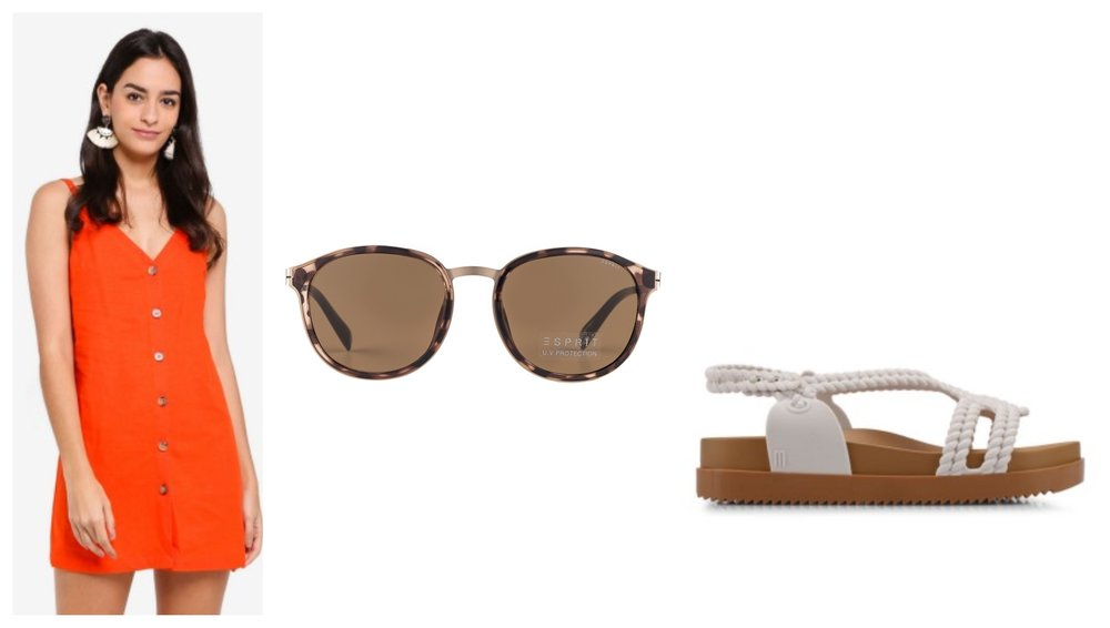 TOPSHOP V Button Mini Slip Dress  |  ESPRIT Vintage Round Gold Sunglasses ET17914    |  Melissa Cosmic Sandal + Salinas Ad Sandals