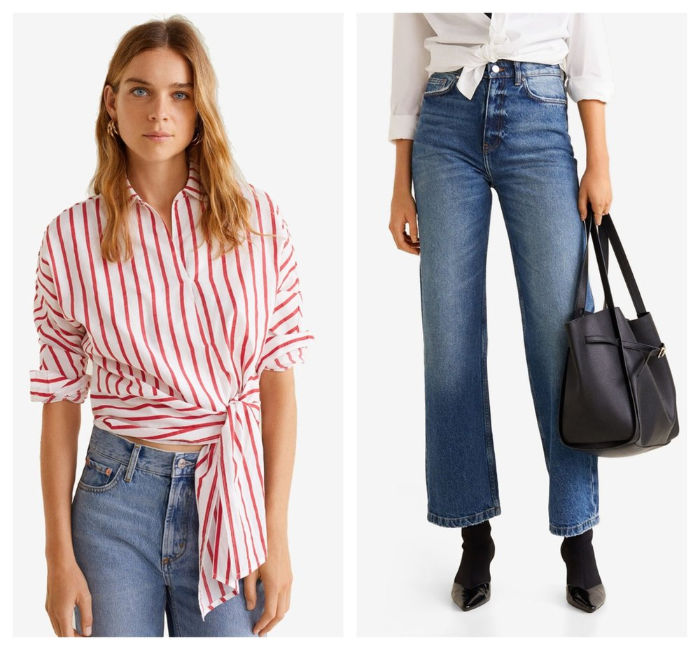 MANGO Striped Bow Blouse  |  Mango Faded Relaxed Jeans