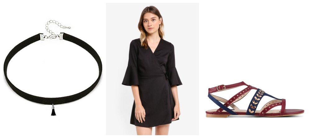 YOUNIQ-Basic Korean Tassel Choker (Black)  |  Something Borrowed Flare Sleeve Wrap Dress  |  ZALORA Embellished Strappy Sandals