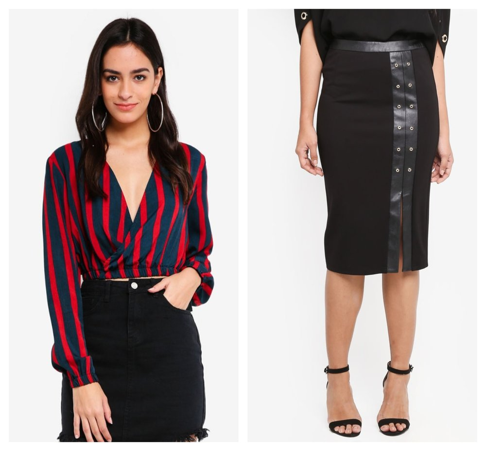 Missguided Navy Stripe Wrap Crop Top  |  Dressing Paula Leather Panel Pencil Skirt