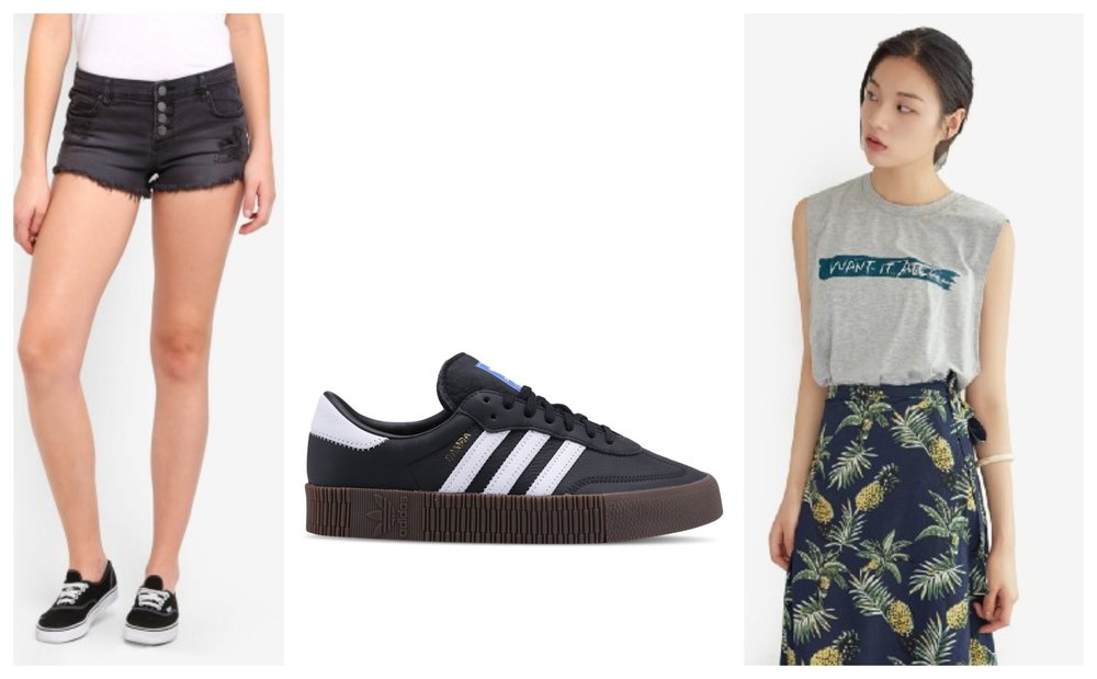From left:  Billabong Denim Shorts  |  Adidas Originals Sneakers  |  NAIN Slogan Print Muscle Tee