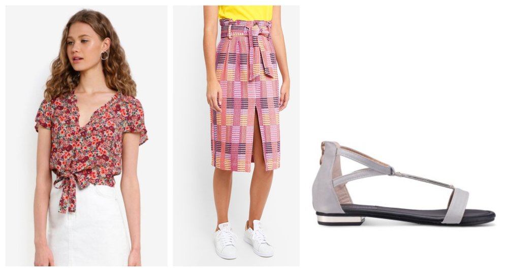 From left:  Jack Wills Hope Floral Blouse  |  TOPSHOP Multi Jacquard Midi Skirt  |  Mimosa T-Bar Flat Sandals