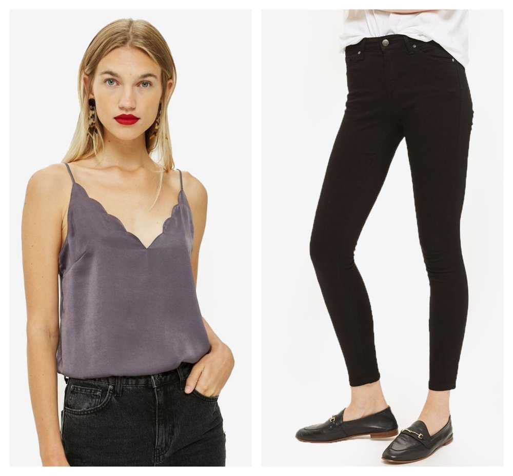 TOPSHOP Satin Scallop Cami Top  |  TOPSHOP Moto Black Leigh Jeans