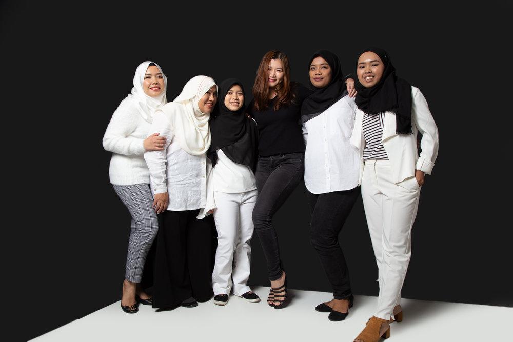 From left: Teefa Rosly, Shereen Nasir, Sofie Adie, Aini Shah (Editor-in-Chief), Faizah Azmi, Iqaa Lee