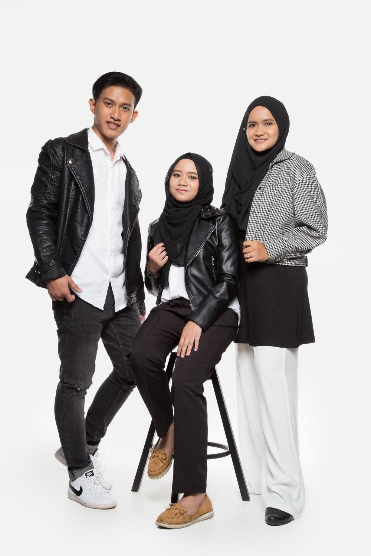 From left: Amer Ridzuan, Putri Mira, Ateeqa Nasha
