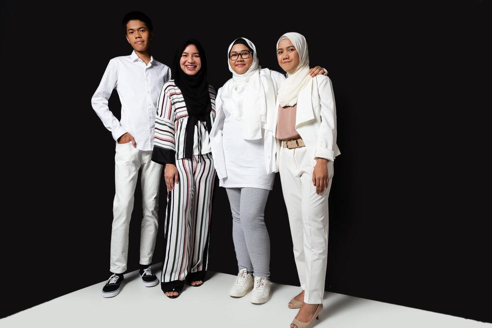 From left: Wafiy Shuib, Amalina Farhan, Sarah Nuraisyah, Syadiya Khairul