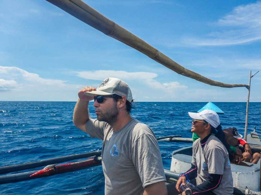 TG and LAMAVE research Gonzalo Araujo searching for whale sharks off the coast of Northern Mindanao.