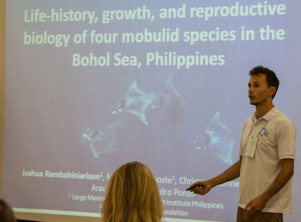 Josh Rambahiniarison discussing ray biology