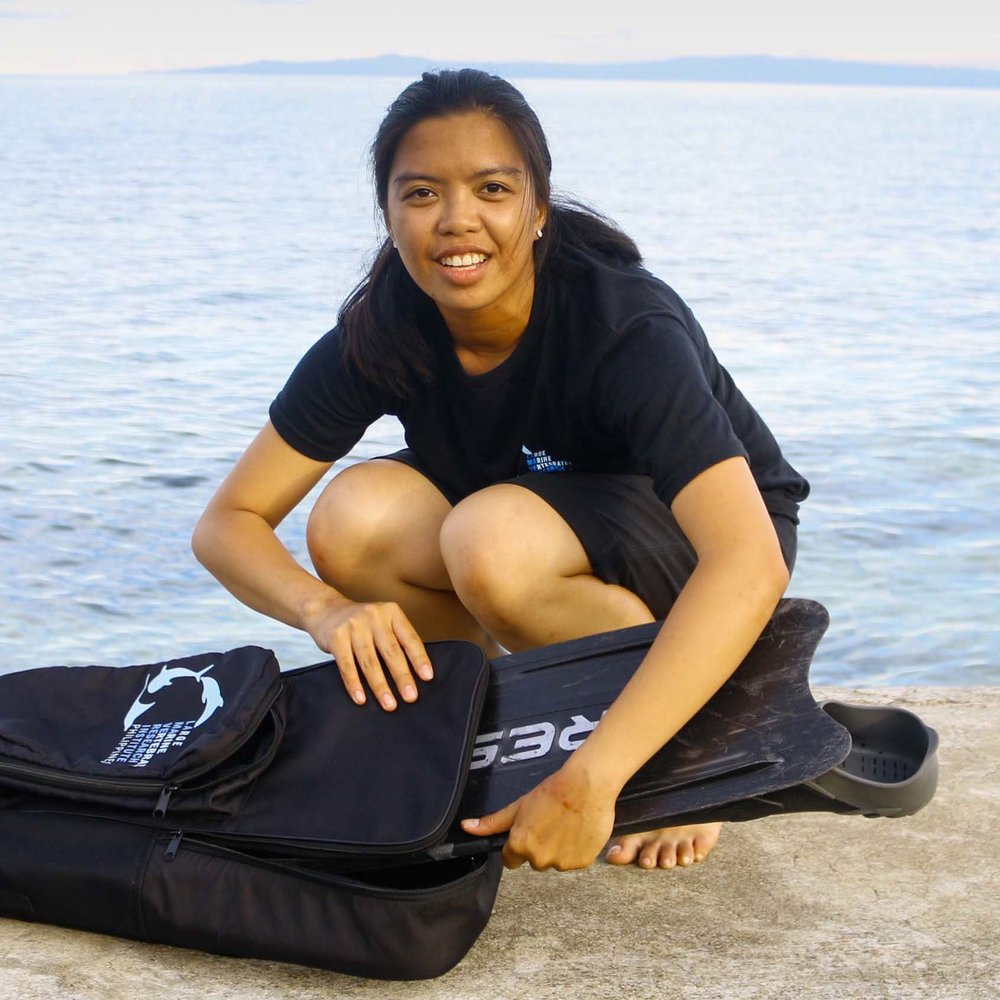 "Christine ""Tin"" Legaspi    Project Leader: Cebu Whale Sharks and Turtles Project   Christine grew up in the busy and polluted Metro Manila, where she earned a degree in environmental science and pursued a career in environmental consultancy. Her passion for marine research and conservation made her leave the corporate city life. She is now based by the sea, leading LAMAVE's Cebu whale shark research project.   BSc. Environmental Sciences, Ateneo de Manila University, Philippines"