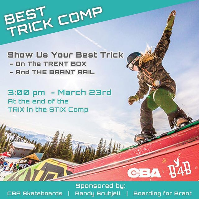 In Memory Of Brant And Trent !!! Best Trick Comp After Trix In The Stix ... Prizes And Cold Hard CASH Provides By @boardingforbrant @cba_skateboards And Randy Bruhjell #showuswhatyougot @hudsonbaymountain #localterrainpark #spring #slushlaps #sunsoutgunsout #skiing #snowboarding #smithersbc