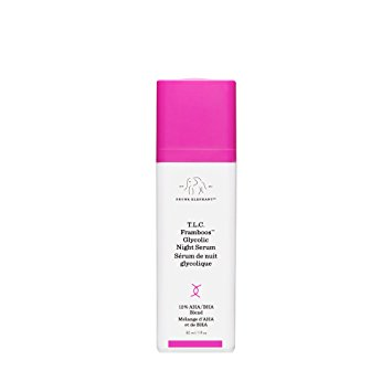 DRUNK ELEPHANT's Glycolic Night Serum - DRUNK ELEPHANT's Glycolic Night Serum is for every skin type. It works through exfoliation to diminish the appearance of fine lines, wrinkles, pores, and excess oiliness for a more even looking complexion. It's ingredients include Raspberry Fruit Extract which works to rehydrate and soothe damaged skin.