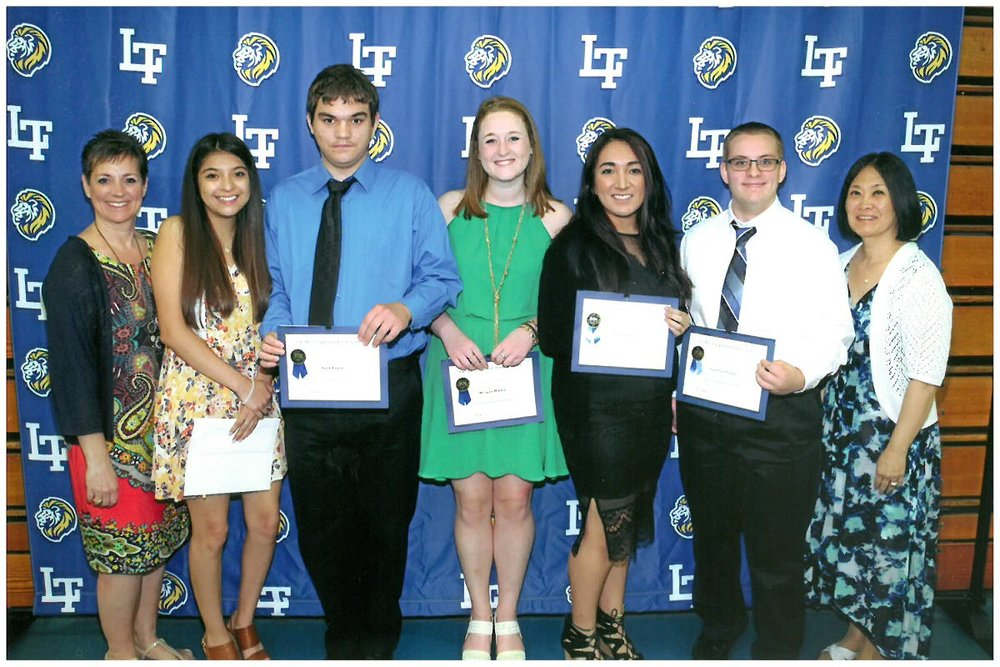 2016 Scholarship Awardees - Pictured (L to R): Mrs. Susan Dixon, Maria Almeida, Berk Erkan, Morgan Machaj, Ruby Rocha, Jonathan Yeager, Mrs. Leeza McHugh