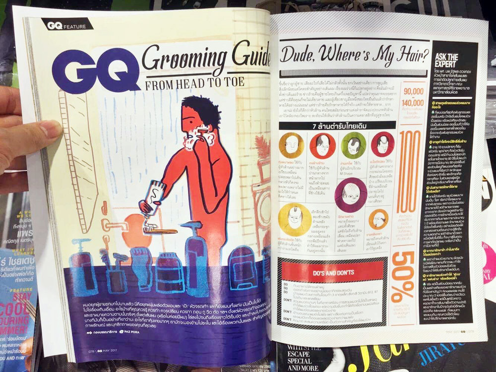 'grooming section' of the magazine