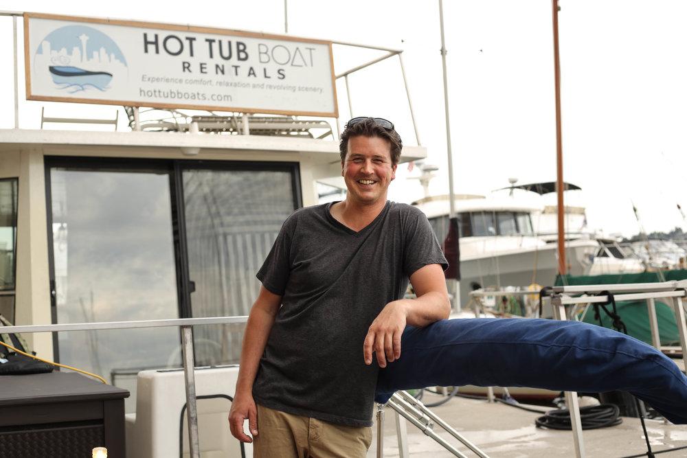 Adam Karpenske, Owner of Hot Tub Boats in Seattle, WA.