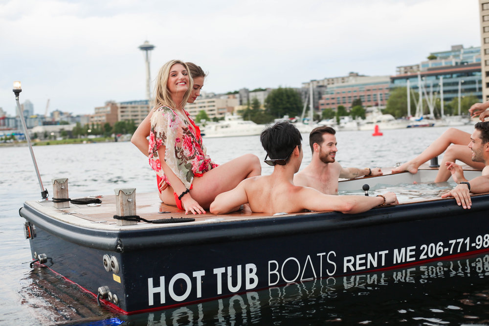 Tugging along in a Hot Tub Boat on the picturesque Lake Union.