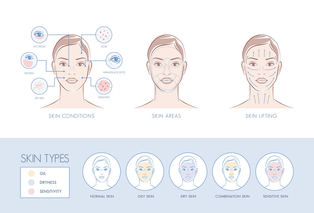 Normal, oily, dry, combination, sensitive skin types