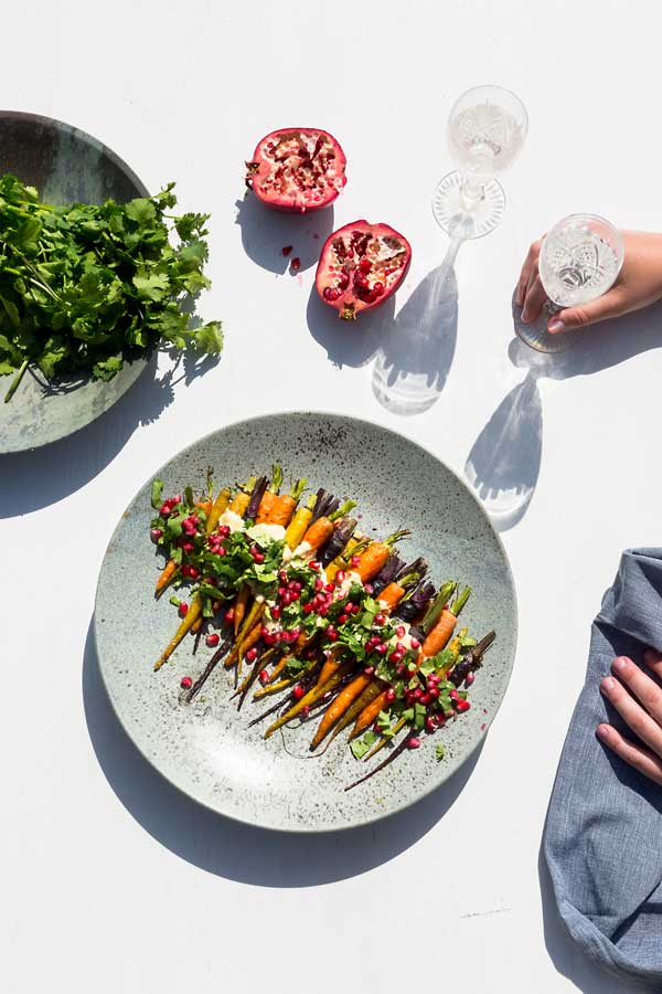 TAHINI ROASTED CARROTS      WITH POMEGRANATE