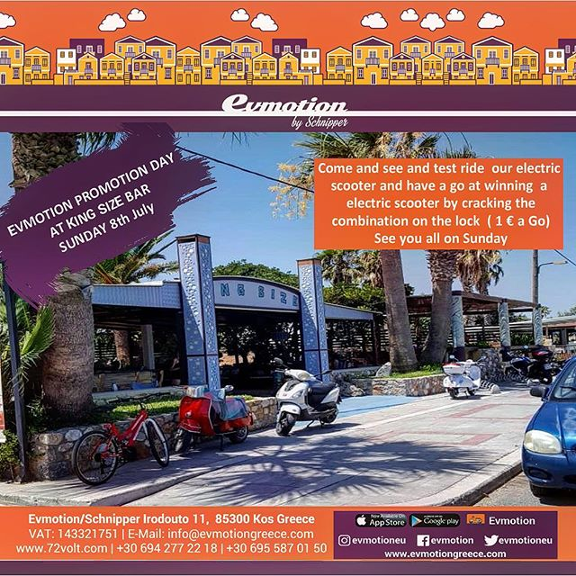 EVMOTION PROMOTION DAY AT KING SIZE BAR  SUNDAY 8th July Come and see and test ride  our electric scooter and have a go at winning  a electric scooter by cracking the combination on the lock ( 1euro a go)  See you all on Sunday  Thank you EVMOTION PROMOTION DAY στο KING SIZE, Τιγκάκι  Κυριακή 8 Ιουλίου 2018 Ελάτε να δείτε και να δοκιμάσετε τα ηλεκτρικά μας σκούτερ και κερδίστε ένα βρίσκοντας τον συνδυασμό στην κλειδαριά (€1 ανά προσπάθεια) Σας περιμένουμε την Κυριακή!  #evehicle #scooter #vexy #chace #kos #island #greece #bodrum #kosisland  Tag your 3 friend and share it on stories get a free go ;)