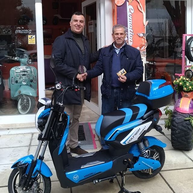 On Sunday 20 January 2019, a brand new Voltrish electric scooter of the company EVMOTION, worth 1200 euros was delivered to the lottery winner of AS FOIVOS KOS, Mr. Alavera Sergio. The lucky winner was drawn to the club's celebration on January 13, 2019 and the lucky winner was informed by coach of club Cleopatra Misalidou, who also supplied him with the voucher. We are very grateful to Mr. Lars Schnipper and Ronny Verloesem of EVMOTION for the offer of the amazing gift and all the club friends who supported us by buying tickets. Congratulations to Mr. Alavera for his win!#entrepreneur #scooter #vespa #voltrish #europe #greece #kos #island #traveller #happy #electric #evehicles #chance #instalike
