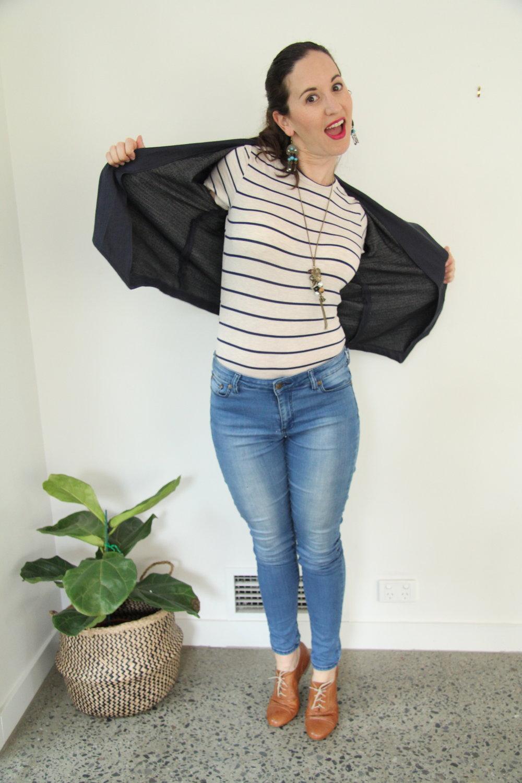 Rowan Bodysuit by Megan Nielsen Patterns featuring Morris Blazer by Grainline Studio