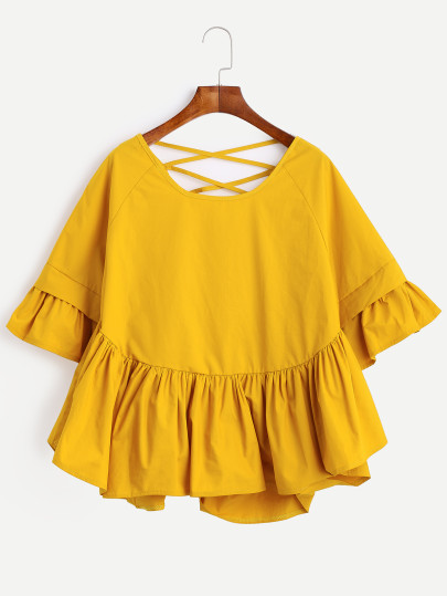http://au.shein.com/Yellow-Lattice-Back-Ruffle-Sleeve-Blouse-p-305411-cat-1733.html