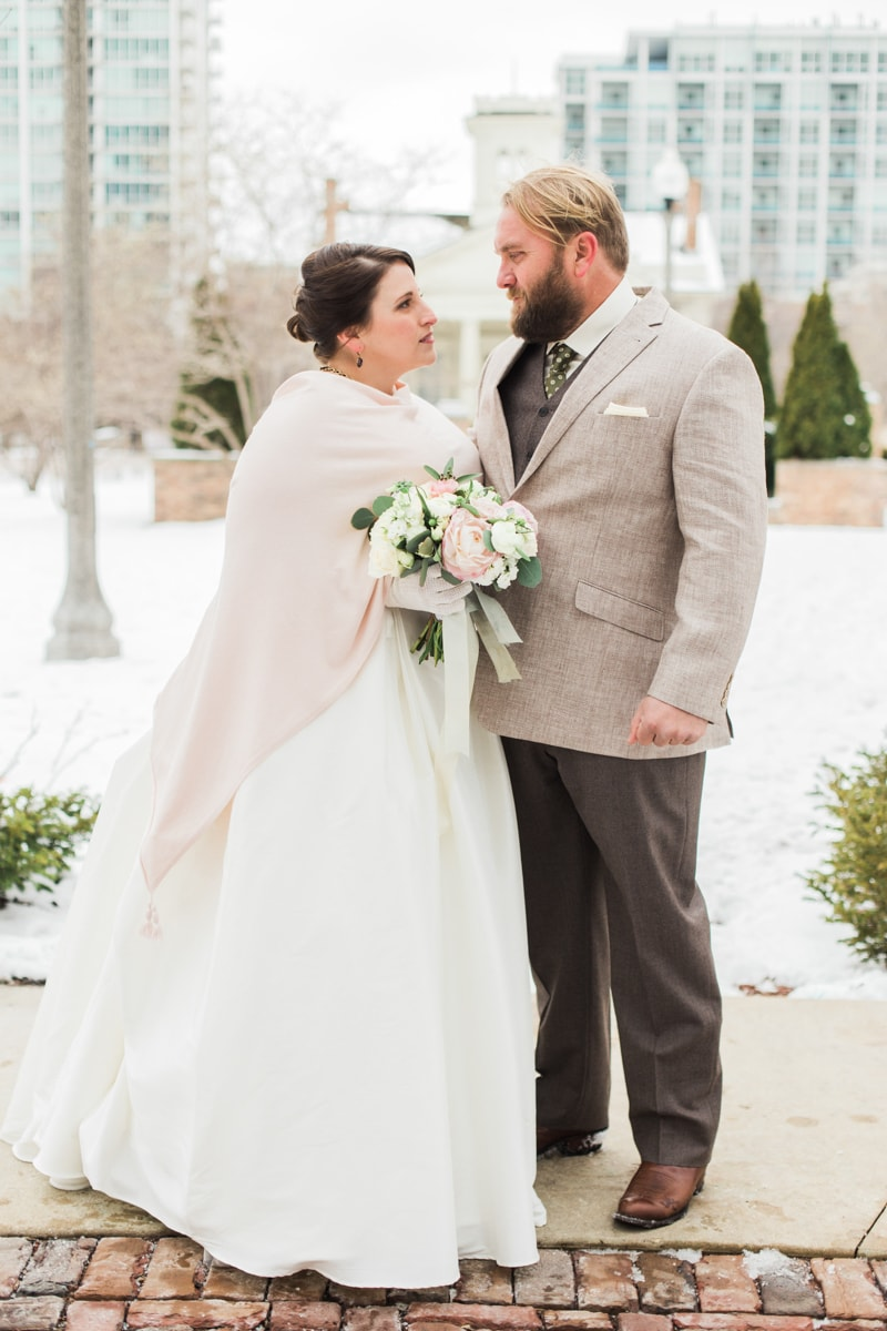 Chicago wedding in winter trendy bride fine art wedding blog in keeping with the theme hopes bridesmaids wore blush dresses ivory shawls and most notably stunning short veils ombrellifo Image collections