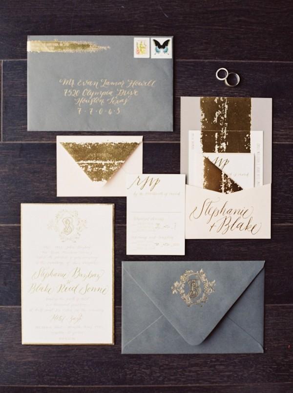 gold invitation suite