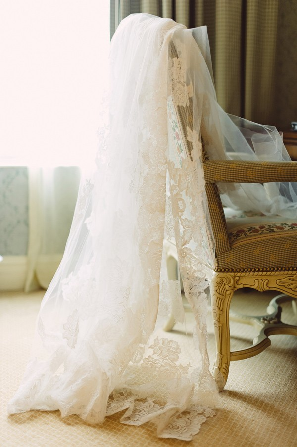 wedding veil on chair
