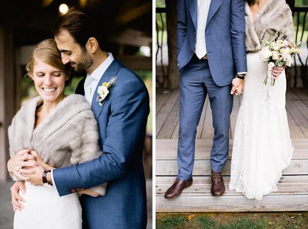 bride in gray fur coat