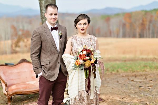 bride in gold dress