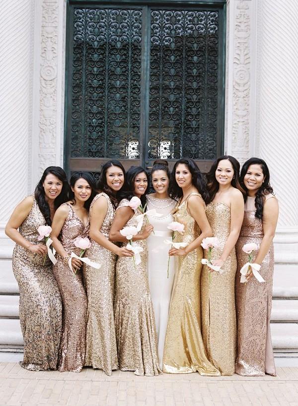 6d5b3ea91610 Beautiful Metallic Bridesmaid Dresses — Destination Wedding Blog ...