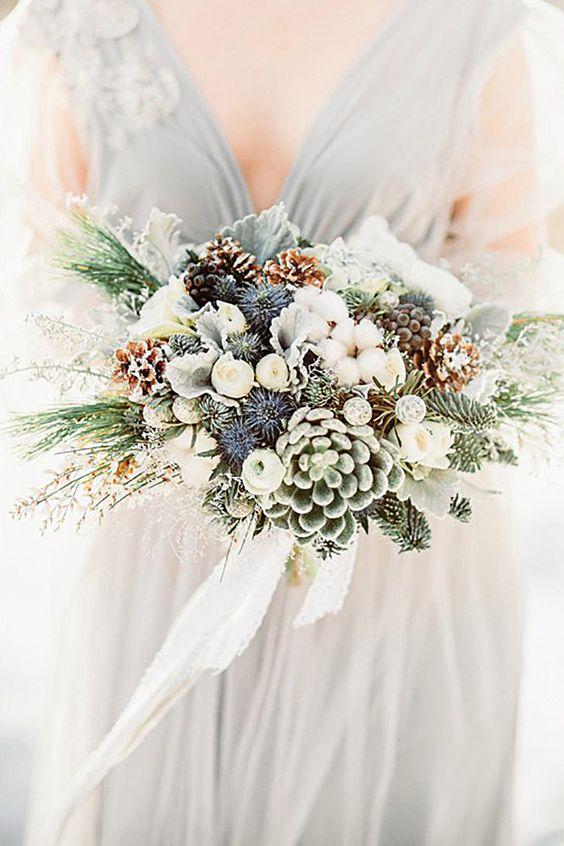 Pine Cone Wedding Bouquet Ideas — Trendy Bride - Fine Art Wedding ...