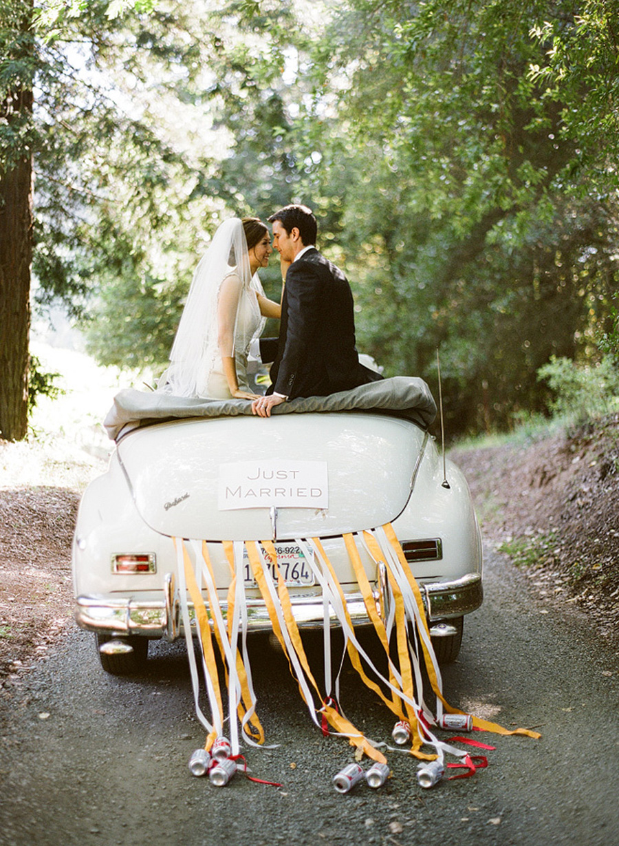 just married sign on vintage car