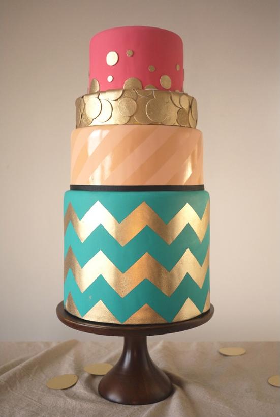 colorful chevron wedding cake