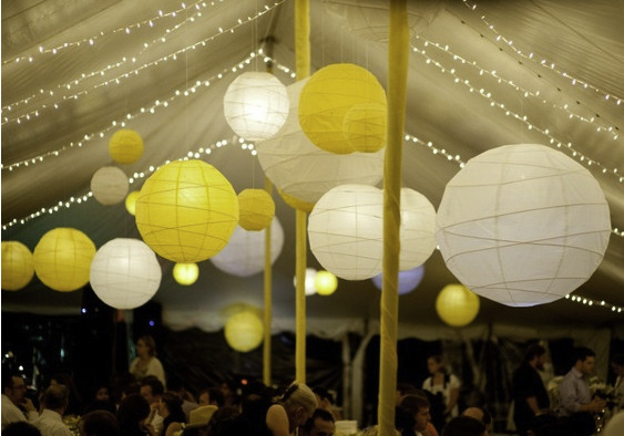 yellow and white paper lanterns