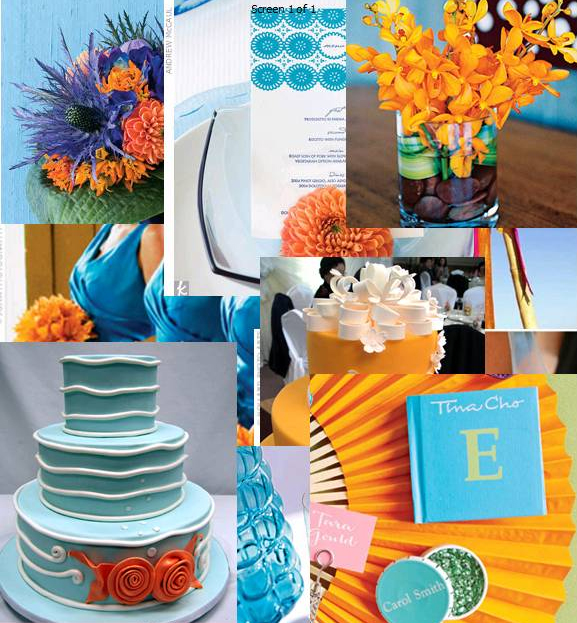 orange and blue wedding