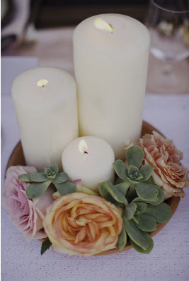 succulent wedding candles centerpiece