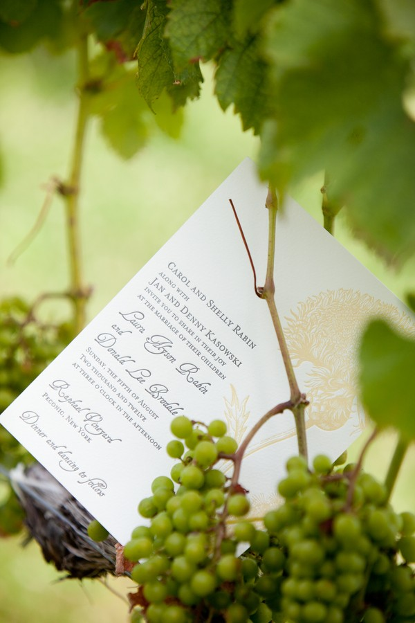 wedding invitation on grape vine