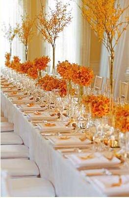 orange wedding table setting