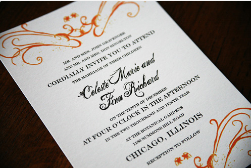 orange black and white invitation