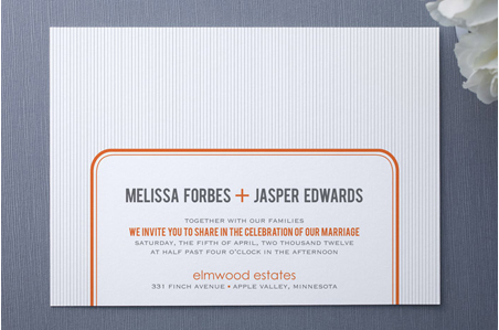 orange and white wedding invitation