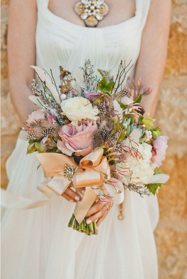 exotic feather wedding bouquet