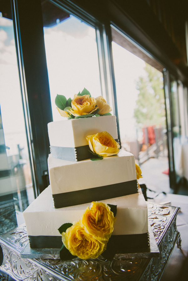 unique yellow and green wedding cake