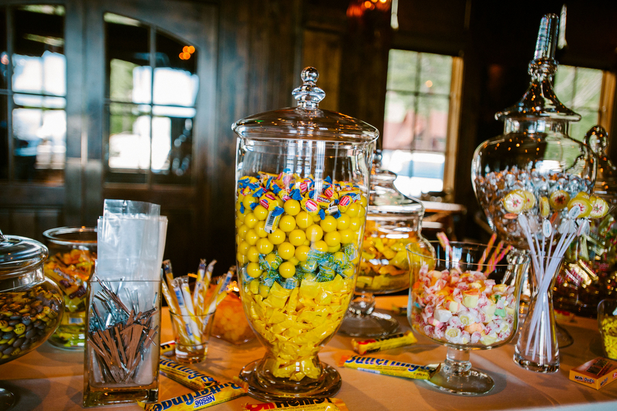 yellow candy wedding table