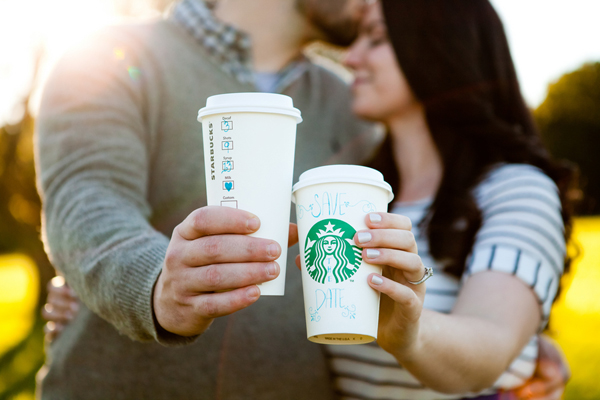 starbucks engagement shoot cups